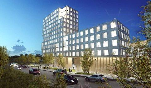 Foreløpig skisse: Dette er det foreløpige utkastet til skisse for utvidelsen av Romerike Helsebygg i Lillestrøm. Foto: Illustrasjon: Nordic Office of Architecture