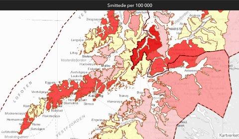 Moskenes, Vestvågøy og Vågan er røde, mens Flakstad har ingen smittede.