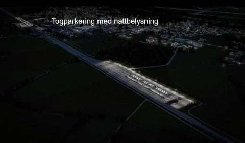 VIL HOLDE LYSSTØYEN NEDE: Bane NOR håper at moderne lysteknikk kan bidra til at området utenfor togparkeringen på Gon ikke lyses opp. Ilustrasjon: Bane NOR.  Sveip for å se flere bilder!