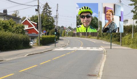 Vegard Brox og Else Beate Gullestad gleder seg begge til nye sykkelfelt i Enebakkveien.