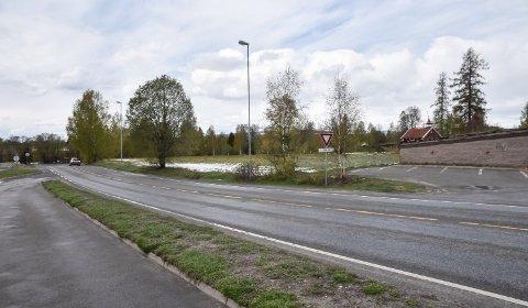 DEN AKTUELLE TOMTA: På jordet mellom Kirkevegen og stabburet på Gaarder gård vil Gunnar Aakrann Eek etablere 75 plasser for langtidsparkering.