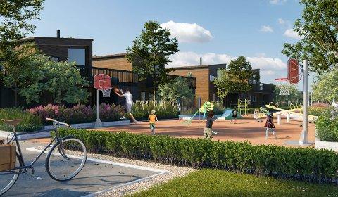 REKKEHUS: Illustrasjonen viser det planlagte nye boligfeltet på Næstadjordet i utkanten av Løten sentrum. Arkitekten for prosjektet er NORLYS arkitektur as.