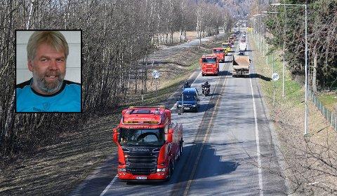 DØDE: Bilberger Kjetil Gullhaugen (innfelt) døde mandag 30. mars etter lengre tids kamp mot kreften. Under gravferden tirsdag hedret kollegene ham med kortesje.