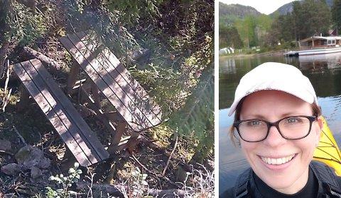 OVERRASKET: Marthe Hansen fra Hole ble trist da hun oppdaget at noen har ramponert benkene på Dronningens utsikt.