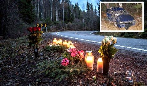 TRAGISK: Utforkjøringen fikk det verst tenkelige utfallet. Bilen hadde store skader etter ulykken Foto: Vidar Sandnes / Hans-Martin Myhrvold Basmoen