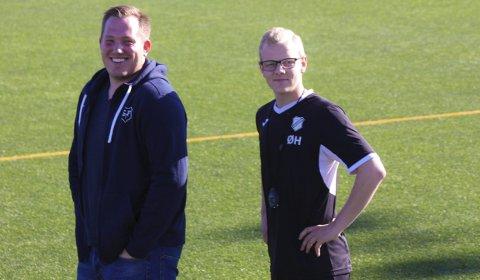 TALENTFULLE: Både Joakim Dragsten (t.v.) og Ørjan Heiberg er i 20-årene og trener topplag i 3. divisjon. Duoen håper å kunne leve av fotball i framtiden. Foto: Håvard Sæle