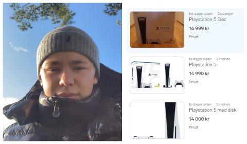 JUBLA: Casper Vigesdal (17) sat i timen og jubla då han fekk plukka med seg ein PlayStation 5. Det som eigentleg skulle bli julegåve skal han heller selje, og kjøpe om att seinare.