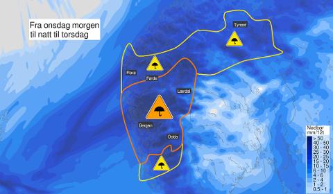 MYKJE NEDBØR: Lokalt vil det kunne koma mellom 100 og 150 mm frå onsdag morgon og til torsdag.