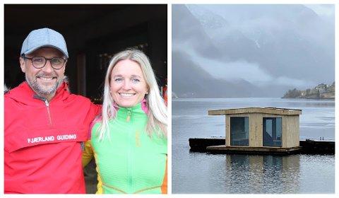 NYT TILBOD: Jarle Mundal og Janne Elin Hårklau skal no utvide tilbodet sitt og lanserer flytande badstove i Fjærland.