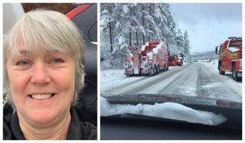 GLATTE VEGAR: Køyrerlærar Merete Skjold fanga dette øyeblikket på glatta på E39 på Moskog i Jølster tysdag føremiddag.