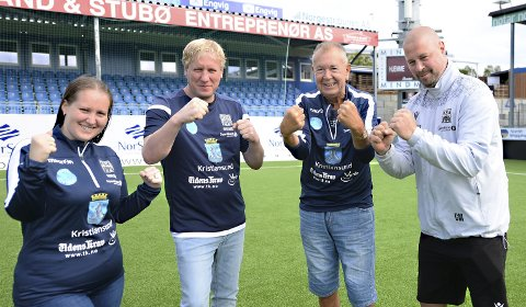 Gleder seg: Therese Kristiansen, Johan Kolmann, Jan Nydal og Conny Månsson gleder seg til Gatelaget skal spille i sin første turnering. Åtte lag er med når det braker løs på Kristiansund stadion lørdag 21. august.