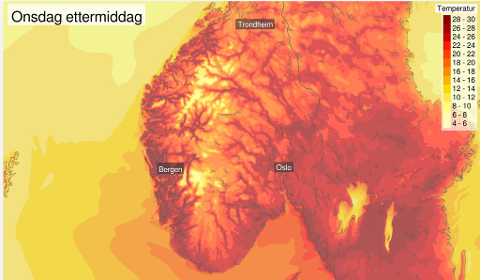 Fantastiske prognoser for Sør-Norge onsdag.