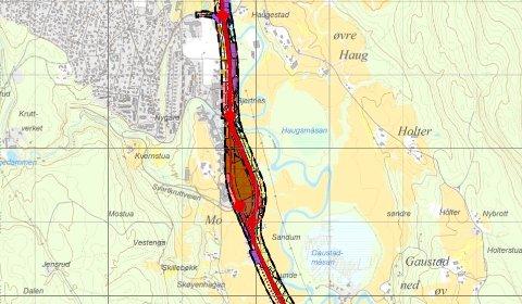 SLØYFETILBESVÆR:Plankart fra kommunedelplanen for riksvei 4 Kjul - Åneby sør med den såkalte sentrumssløyfa midt på bildet.
