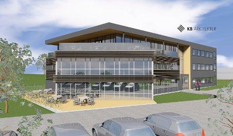 MYE GLASS: Det nye kontorbygget ved rundkjøringen på Kullerød får 700 kvadratmeter i tre etasjer, og skal stå ferdig neste vår. (Illustrasjon: KB Arkitekter i Tønsberg).