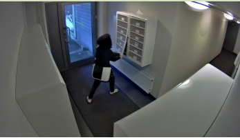 ROBBER: Her slår den unge kvinnen igjen til mot postkassene i Ringnes Park Vest sameie. Seks ganger stjal hun og venninnen post herfra før de ble tatt.
