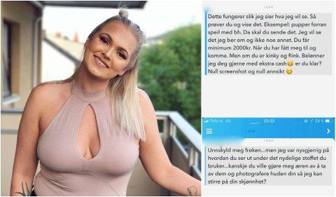 UØNSKET SEKSUELL OPPMERKSOMHET: Helena Westergren (t.v) får ofte spørsmål om hun kan sende nakenbilder til ukjente folk som legger henne til på Snapchat.