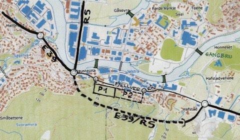 PARKERING:  Figur 2: Denne viser eit døme på eit større parkeringsanlegg i Hafstadfjellet sør for Fjellvegen, og med tilkomst(ar) frå denne. Parkeringsanlegget kan byggast i fleire etasjar i ein fjellhall, skriv artikkelforfattarane.