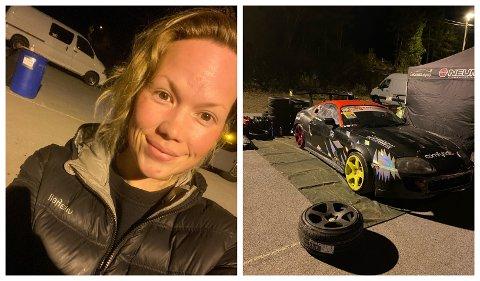 ER KLAR: Driftweekendsjef Maria Djønne var på bana torsdag kveld for å sjekke dei som allereie var på plass med bilane sine i depoet.