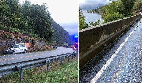 PÅ OG VED ULYKKESSTADEN: Til venstre ser ein ulykkesstaden. Til høgre dieselsølet som politiet no peikar på som ei mogleg årsak til ulykka.