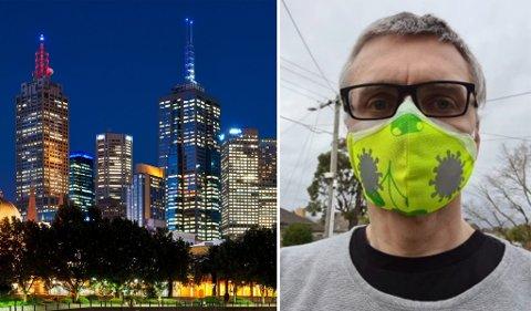 BRUKER MASKE: I mer enn 20 år har Jørgen Smith fra Fredrikstad vært bosatt i Melbourne, som er hardt rammet av koronaviruset. Han mener Norge må ta kraftigere grep mot viruset før det er for sent.