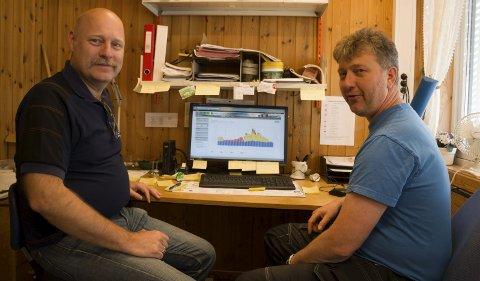 FULL KONTROLL: Prosjektleder Stefan Grønnerud i KKE Eiendom og byggdrifter Arne Huseby på Roverudhjemmet har stålkontroll over strømforbruket via pc-en.