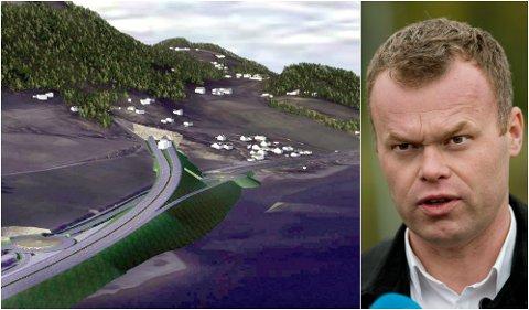 Ny E6 Vingrom Ensby: Her vises det hvordan et tunnelinnslag sør i Øyresvika kan bli.  Ordfører Espen Granberg JOhnsen (Ap).