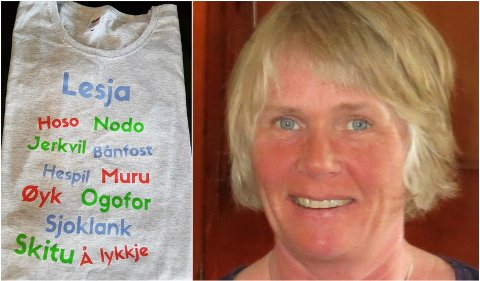 DIALEKTORD: Her er T-skjorta Kjøremgrenda musikkforening selger. På bildet Ann-Kristin Mølmen, Lesja.