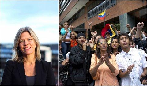 VIKTIG REGION: Benedicte Bull holder forelsening om den politiske situasjonen i Latin-Amerika i dag. Bildet til høyre viser tilhengere av den presidentkandidat Javier Bertucci i Venezuela.