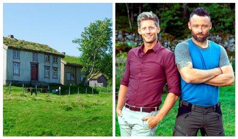 Dette er gården i Horsevika på Grytøy utenfor Harstad der TV-programmet Farmen ble spilt inn i 2003. T.h. programleder Gaute Grøtta Grav sammen med Farmen-deltaker Tom Evensen fra Mesnali i 2017.