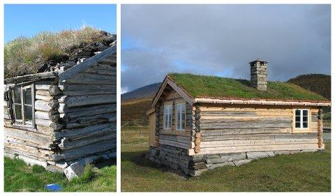 Karstugu, Fokstugu på Dovre før og etter restaurering. Tiltaket er støttet av Kulturminnefondet. (Foto Einar Engen/Simen Bjørgen)