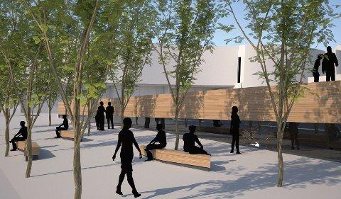PLATTFORM: Kunsthallen som er planlagt på Stortorget sett fra Kirkegata. Den har utstillingslokaler under jorden med vinduer på siden hvor publikum kan kikke inn.  På taket blir det myldreområde.