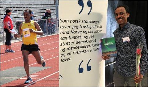 EN STOR DAG: Rett etter målgang reiste Michael Tesfamichael til Gjøvik Fjellhall. Her mottok han beviset på at han er norsk statsborger.
