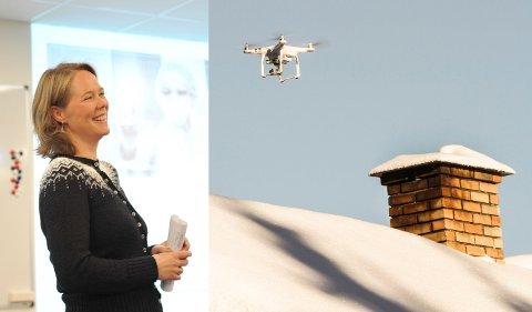 Nærmer seg: Det er snart klar for testflyvninger i prosjektet mot at droner skal ta seg av fraktingen av blodprøver.  På bildet: Randi Lilleengen Beitdokken, divisjonsdirektør i SI.