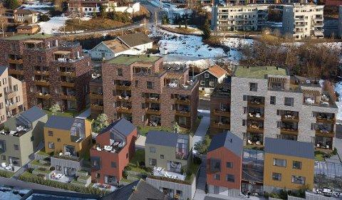 SOLGT: Husene B, C og D i bakgrunnen. Det er nå solgt leiligheter i alle tre byggene.