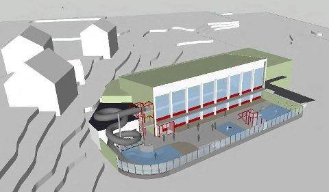 Får 150.000 kroner: Planene for badeland, kombinert med eksisterende Odda Folkebad. Illustrasjon: Abo plan & arkitektur
