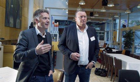 PÅ OFFENSIVEN: Daglig leder i Base Property, Alfred Ydstebø og daglig leder i Grønhaug Eiendom, Øystein Grønhaug samarbeider om Nordsjø Kontorpark.                                        Foto: Harald Nordbakken