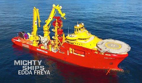 EDDA FREYA: Fartøyet er det største i DeepOceans konstruksjonsflåte. Skjermdump: Discovery Channel.
