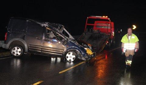 Ulykka skjedde på fylkesvei 44 rundt kommunegrensa mellom Hå og Eigersund.