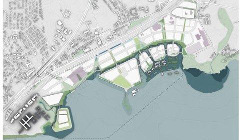 FJORDBYEN: Utviklingen av Fjordbyen Lier og Drammen blir stadig mer konkretisert med øyer, kanaler og strandlinje. Senere i år skal planen sendes Lier kommune. Illustrasjon: Link Arkitektur.