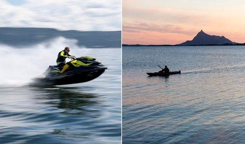 På kollisjonskurs: Økt bruk av vannskutere har ført til konflikter i Holsfjorden. Både kajakkpadlere og badende føler seg utrygge med farten mange av skuterne holder. Foto: NTB scanpix