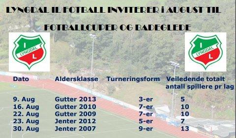 CUPSPILL: Endelig kan aldersbestemte klasser spille fotball igjen. Lyngdal IL inviterer til cupspill allerede fra neste helg.