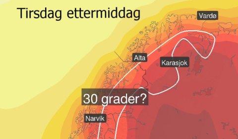 VARMT: Slik er prognosene for tirsdag ettermiddag. Aller varmest blir det i indre Troms, men også i Tromsø vil det bli høye temperaturer. Foto: Yr/Twitter
