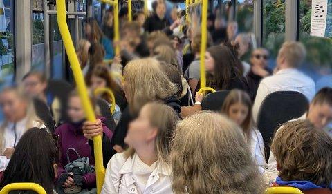Dette bildet ble tatt på bussen fra Tromsø sentrum mot Telegrafbukta onsdag ettermiddag. Nordlys har sett flere bilder fra samme busstur. Foto: Privat