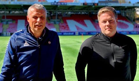 TOK TAK: Truls Jenssen i TIL og Espen Pedersen i Troms Fotballkrets har løftet Troms fra verst i landet til å nærme seg toppen.