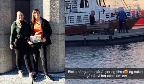 BLE FILMET: Julia Johnsen Halsebø (23) og Monika Remme (25) var to av kvinnene som ble filmet av to fremmede menn. - Det er kjipt at man må passe på at man kan bli tatt bilde av helt fremmede, sier Remme.