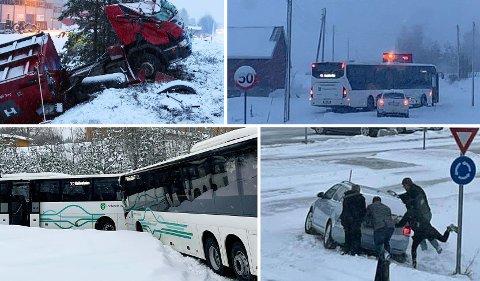 KAOS: Politiet har mottatt 67 trafikkmeldinger i Innlandet det siste døgnet.
