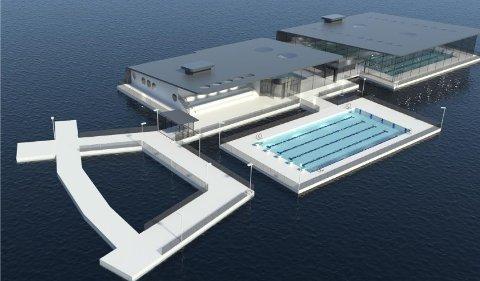 FLYTENDE: Det er mulig å legge hele svømmeanlegget ut i Kolbotnvannet, men rådmannen anbefaler i denne omgang å legge innendørs basseng på land og et utendørsbasseng i Kolbotnvannet.