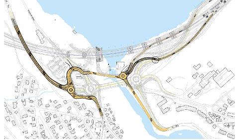 ENDRINGER: Veiene som er markert gule er kjøremønsteret slik det vil være fra torsdag. Ikke markerte veier vil være kjøremønsteret fra høsten av.