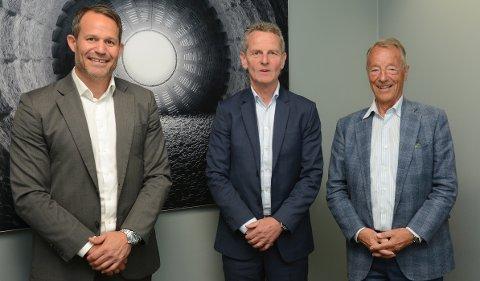 De har alle tre vært konsernsjefer i Norcem. Fra venstre nåværende konsernsjef Giv Brantenberg, tidligere konsernsjef Gunnar Syvertsen og tidligere konsernsjef Gerhard Heiberg.