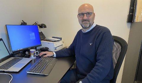 PÅ HJEMMEKONTORET: Equinor-sjefen i Porsgrunn, Jarann Wold Pettersen har tilbrakt mange timer på hjemmekontoret gjennom året.